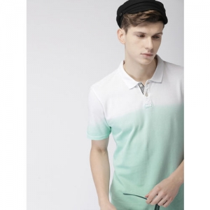 Harvard Men Sea Green Dyed Polo Collar T-shirt