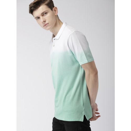Harvard Men Sea Green Dyed Polo Collar T-shirt