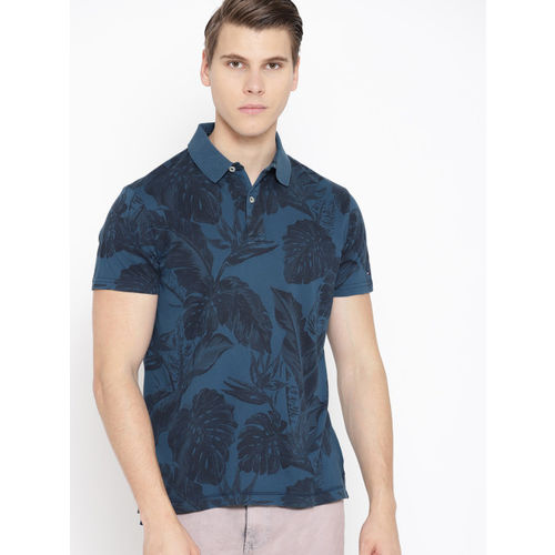 Tommy Hilfiger Men Navy Blue Printed Polo Collar T-shirt