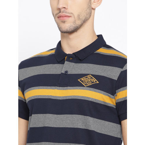 Roadster Men Navy Blue & Mustard Yellow Striped Polo Collar T-shirt
