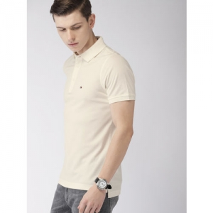 Tommy Hilfiger Men Off-White Slim Fit Solid Polo Collar T-shirt
