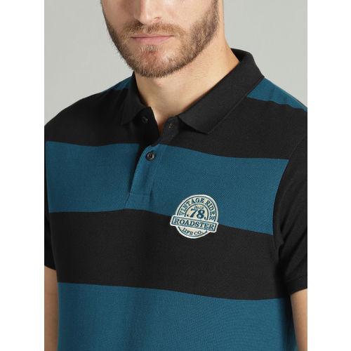 Roadster Men Black & Teal Blue Striped Polo Collar T-shirt