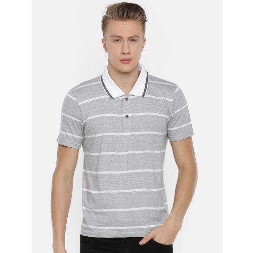 Kryptic Men White Striped Polo Collar T-shirt