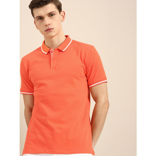 ether Men Orange Solid Polo T-shirt