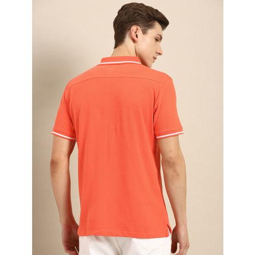 ether Men Orange Solid Polo T-shirt