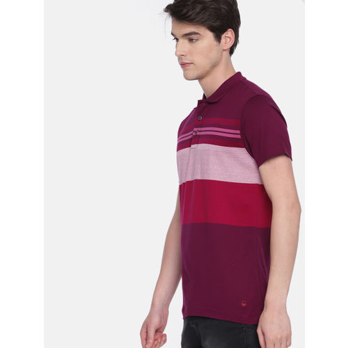 United Colors of Benetton Men Maroon & Pink Striped Polo Collar T-shirt