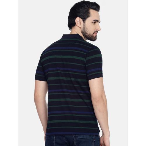U.S. Polo Assn. Men Black & Green Striped Polo Collar T-shirt