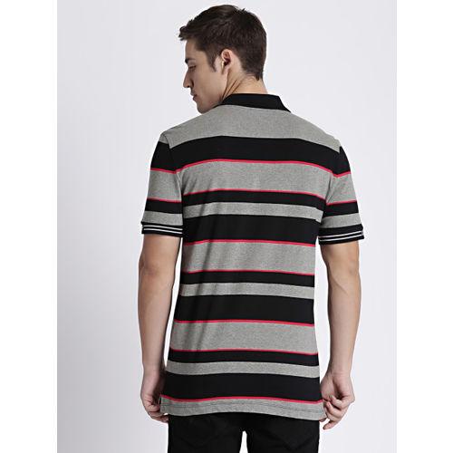 GAP Men Black & Grey Striped Polo T-shirt