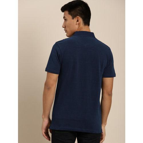 INVICTUS Men Navy & White Checked Polo Collar T-shirt