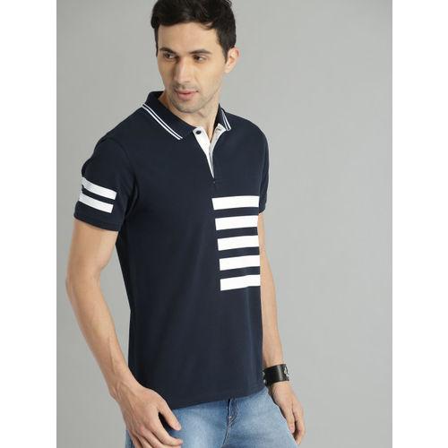Roadster Men Navy Blue & White Striped Polo Collar T-shirt