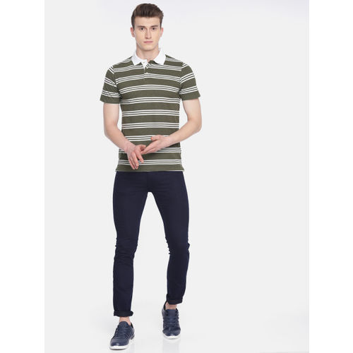 INVICTUS Men Olive Green & White Striped Polo Collar T-shirt