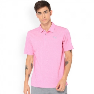 Puma Men Purple Solid Polo Collar T-shirt
