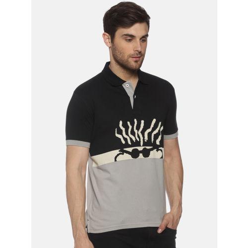 FIDO DIDO Men Grey & Black Printed Colourblocked Polo Collar T-shirt