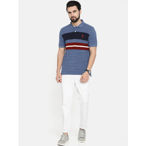 U.S. Polo Assn. Men Navy Blue & Maroon Striped Polo Collar T-shirt