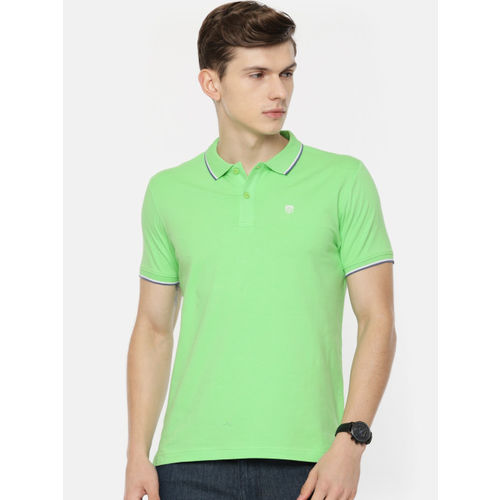Pepe Jeans Men Fluorescent Green Solid Polo Collar T-shirt