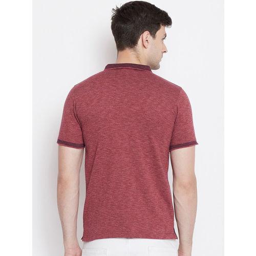Okane Men Maroon Self Design Polo Collar T-shirt