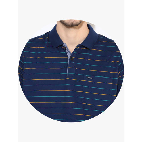 Proline Navy Blue Striped Regular Fit Polo T-Shirt