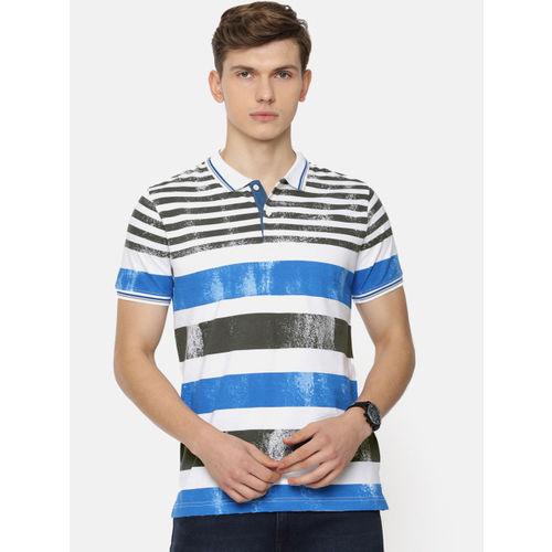Pepe Jeans Men White & Blue Striped Polo Collar T-shirt
