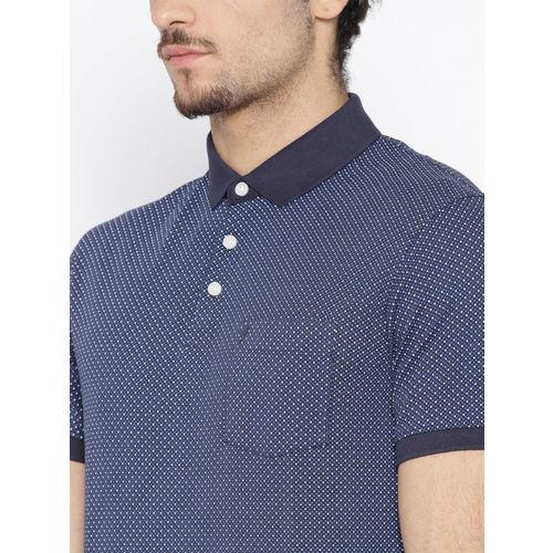 Indian Terrain Men Navy Blue Textured Slim Fit Polo Collar T-shirt