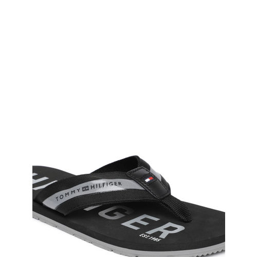 Tommy Hilfiger Men Black Printed Thong Flip-Flops