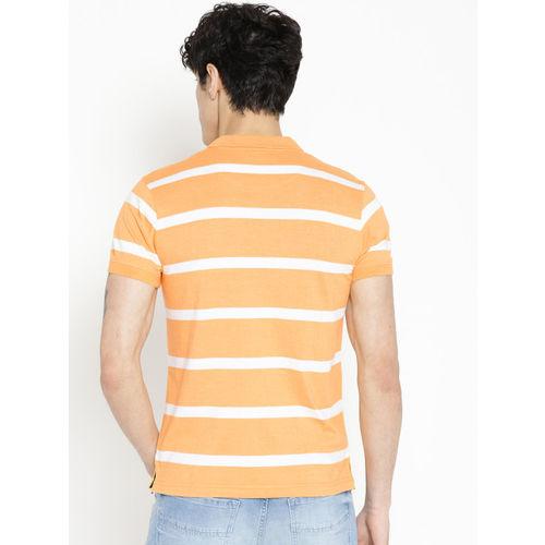 Pepe Jeans Men Orange & White Striped Polo Collar T-shirt
