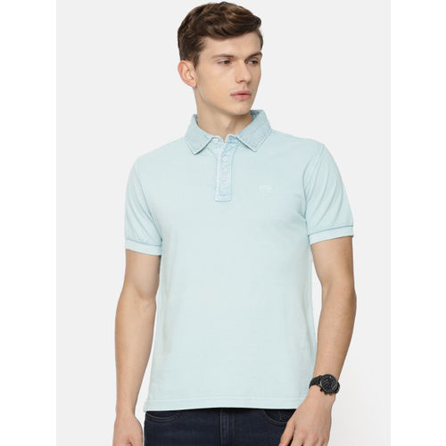 Pepe Jeans Men Blue Solid Polo Collar T-shirt