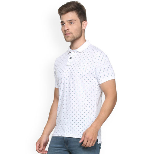 Peter England Casuals Men White Slim Fit Printed Polo Collar T-shirt