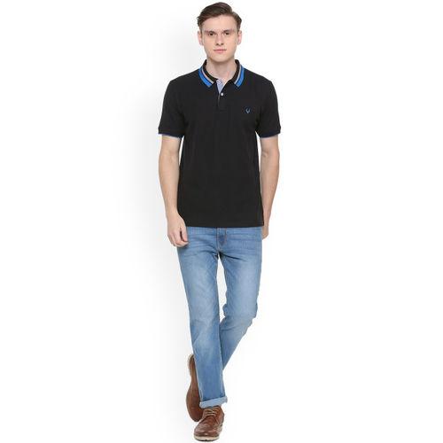 Allen Solly Men Black Solid Polo Collar T-shirt