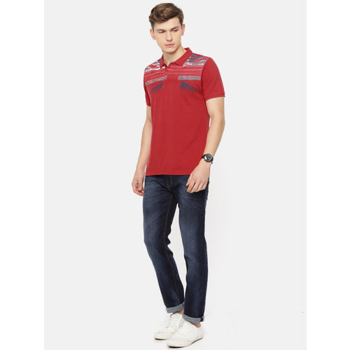 Pepe Jeans Men Red & Grey Striped Polo Collar T-shirt