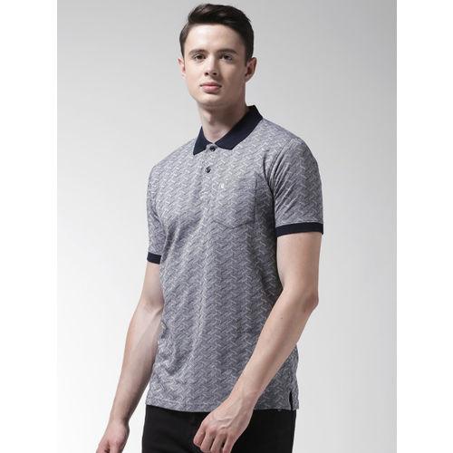 Richlook Men Navy Blue Self Design Polo Collar T-shirt