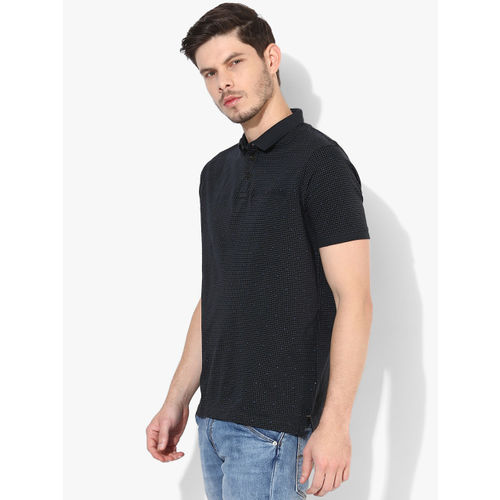 Proline Navy Blue Printed Regular Fit Polo T-Shirt