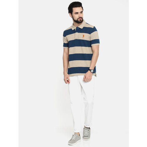 U.S. Polo Assn. Men Grey Striped Polo Collar T-shirt