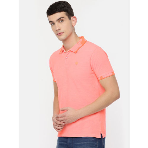 Pepe Jeans Men Coral Orange Solid Polo Collar T-shirt