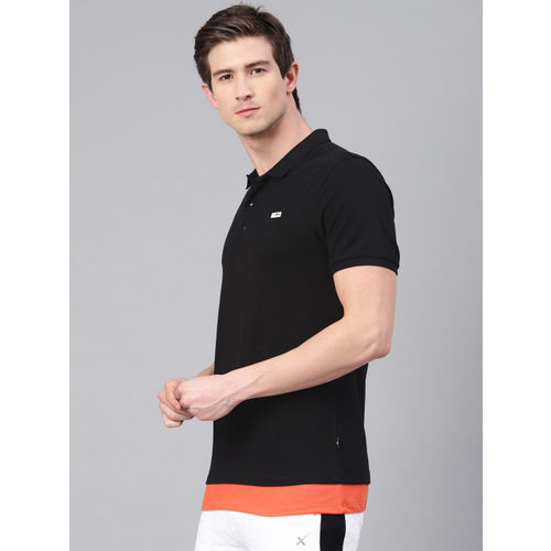 HRX by Hrithik Roshan Men Black Solid Polo Collar Lifestyle T-shirt