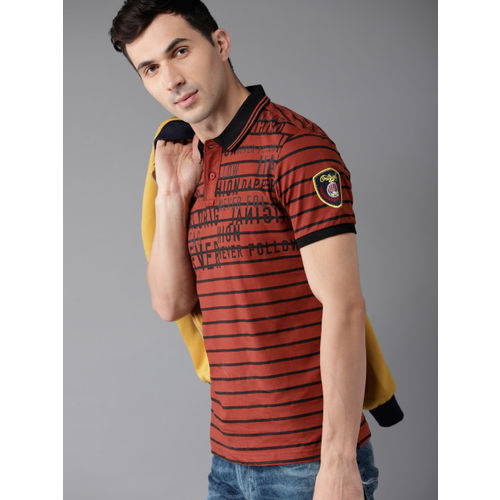 Moda Rapido Men Rust Orange & Black Striped Polo Collar T-shirt