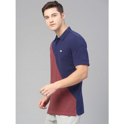 HRX by Hrithik Roshan Men Navy Blue & Rust Colourblocked Polo Collar T-shirt