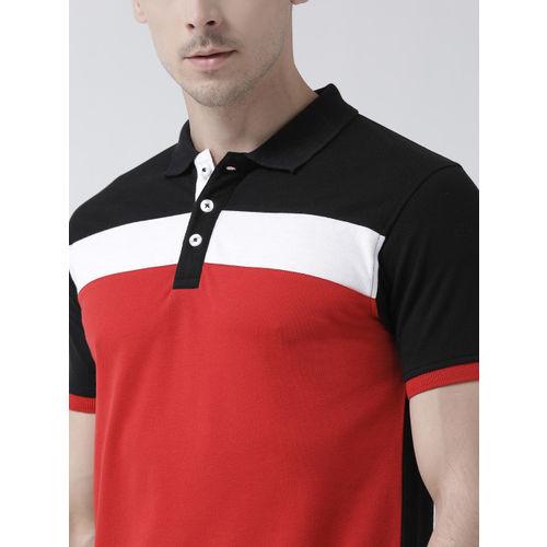 Club York Men Red Colourblocked Polo Collar T-shirt