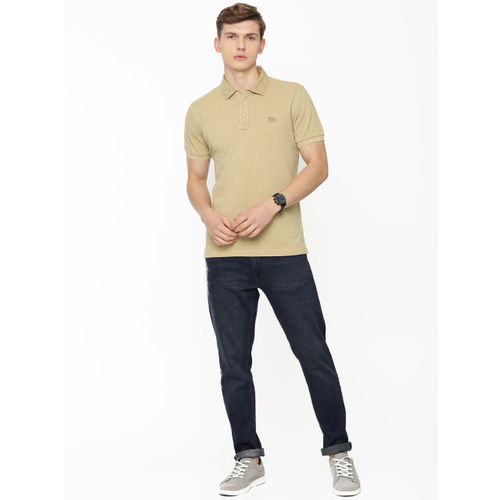 Pepe Jeans Men Beige Solid Polo Collar T-shirt