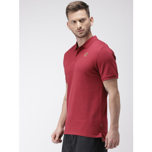 Nike Men Maroon Solid NKCT POLO HERITAGE Slim Fit Polo Collar T-shirt