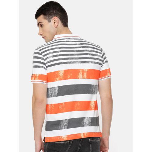 Pepe Jeans Men Orange & Charcoal Striped Polo Collar T-shirt