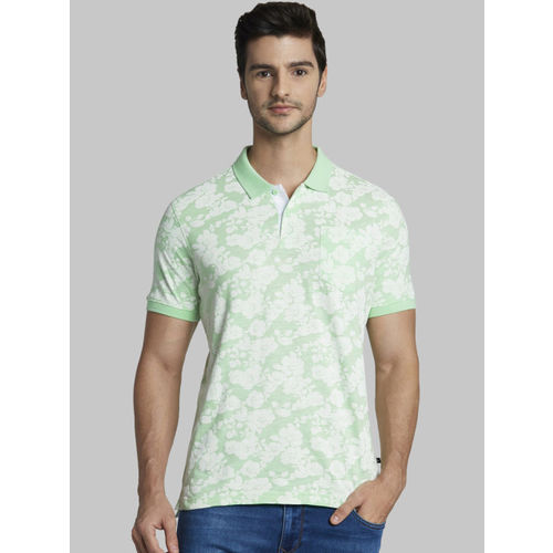 Parx Men Green Printed Polo Collar T-shirt
