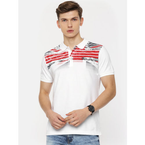 Pepe Jeans Men White & Red Striped Polo Collar T-shirt