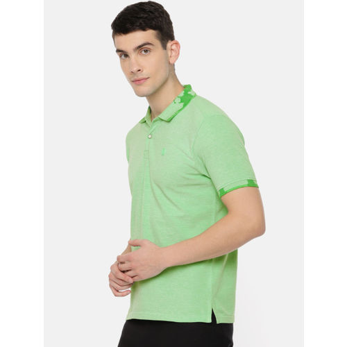 Pepe Jeans Men Green Solid Polo Collar T-shirt
