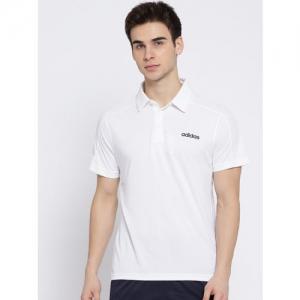 ADIDAS Men White D2M CCOOL Solid Polo T-shirt