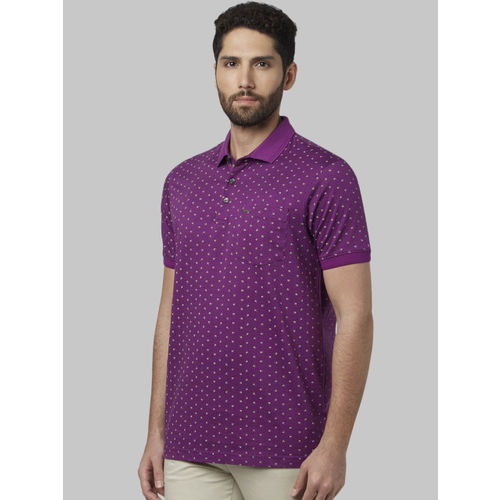 Park Avenue Men Purple Printed Polo Collar T-shirt