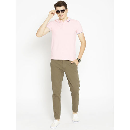 Pepe Jeans Men Pink Solid Polo Collar T-shirt