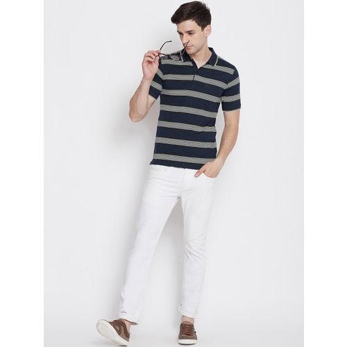 Okane Men Yellow & Navy Blue Striped Polo Collar T-shirt