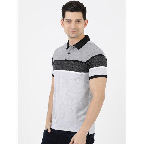 Cloak & Decker by Monte Carlo Men Grey & Black Colourblocked Polo Collar T-shirt