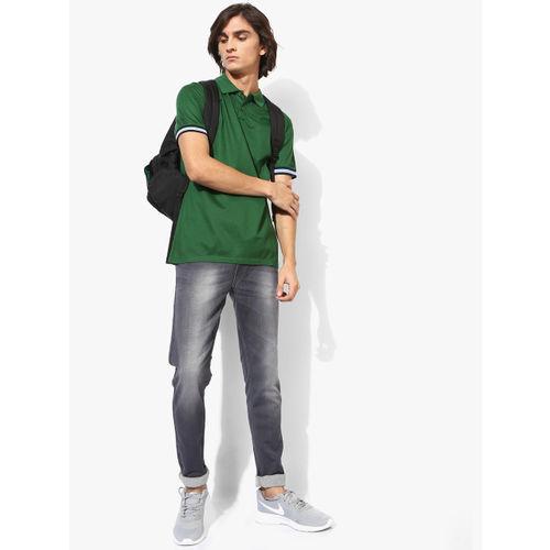 Calvin Klein Green Self Design Slim Fit Polo T-Shirt