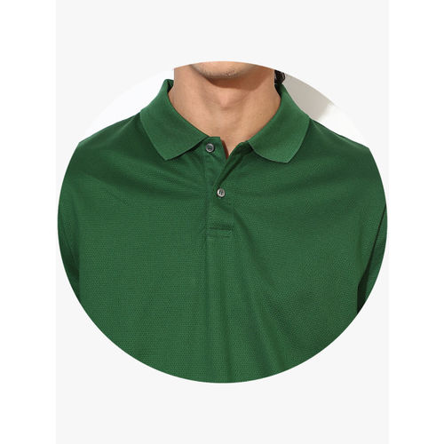 Calvin Klein Green Self Design Slim Fit Polo T-Shirt